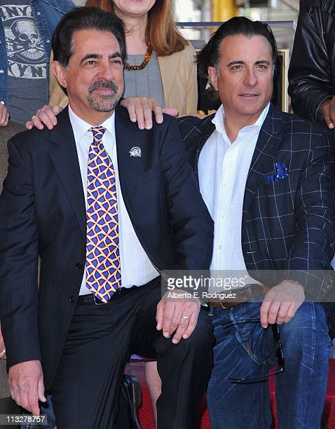 Actors Joe Mantegna and Andy Garcia attend the star ceremony honoring actor Joe Mantegna with the 2438th star on the Hollywood Walk of Fame on April...