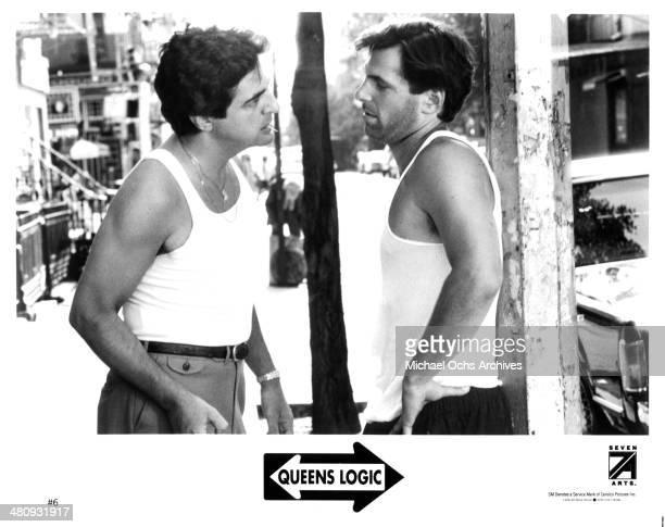 Actors Joe Mantegna and Ken Olin on set for the movie 'Queens Logic' circa 1991