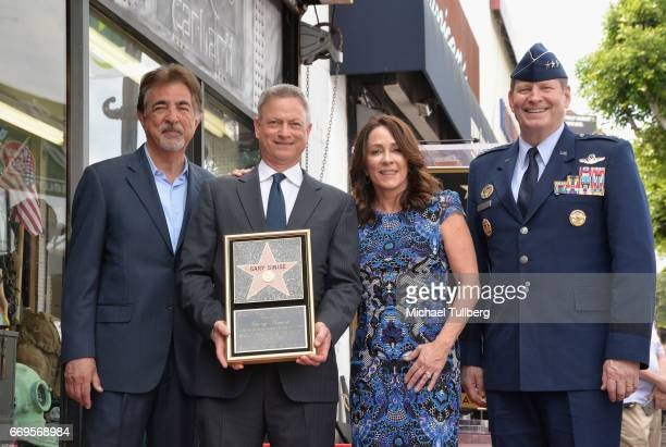 Actors Joe Mantegna Gary Sinise and Patricia Heaton and USAF General Robin Rand attend the ceremony honoring Sinise with a star on the Hollywood Walk...