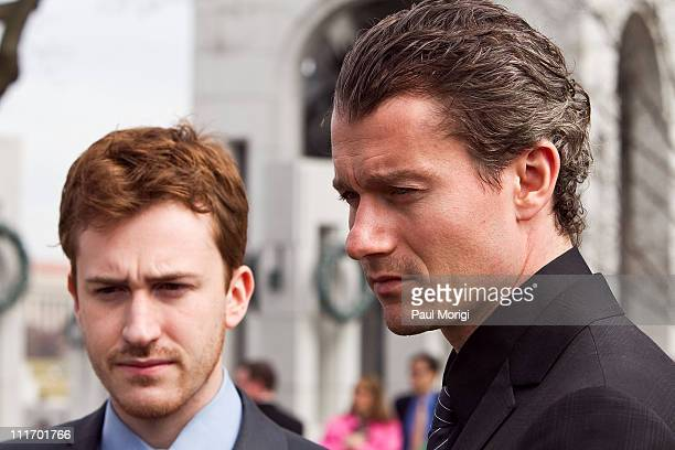 Actors Joe Mazzello and James Badge Dale stars of HBO's 'The Pacific' talk with the media at a World War II Memorial Ceremony paying tribute to the...