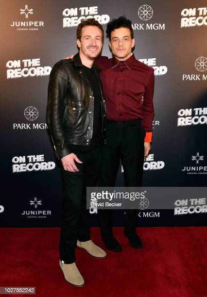 Actors Joe Mazzello and Rami Malek attend Queen Adam Lambert PostShow VIP reception at Juniper Cocktail Lounge presented by On The Record at Park MGM...
