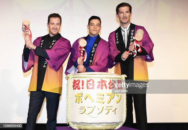 Actors Joe Mazzello Rami Malek and Gwilym Lee attend the 'Bohemian Rhapsody' Japan premiere at the Roppongi Hills on November 7 2018 in Tokyo Japan