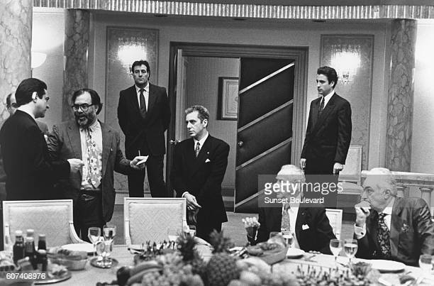 Actors Joe Montegna Al Pacino Andy Garcia and Eli Wallach with director and screenwriter Francis Ford Coppola on the set of his movie The Godfather...