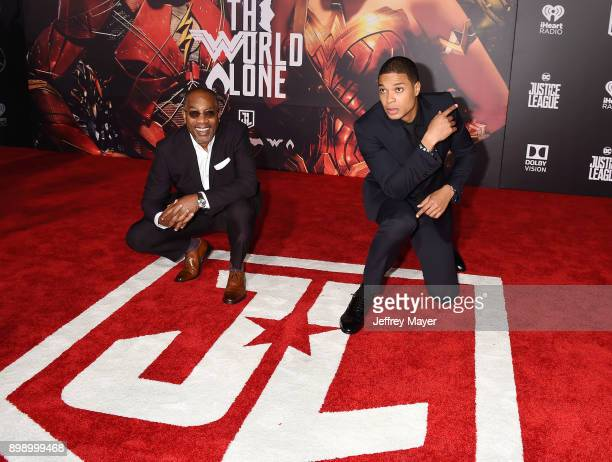 Actors Joe Morton and Ray Fisher arrive at the premiere of Warner Bros Pictures' 'Justice League' at the Dolby Theatre on November 13 2017 in...