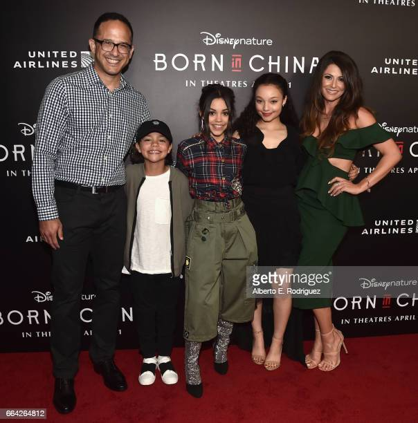 Actors Joe Nieves Malachi Barton Jenna Ortega Kayla Maisonet and Cerina Vincent attend the Los Angeles premiere of Disneynature's BORN IN CHINA at...