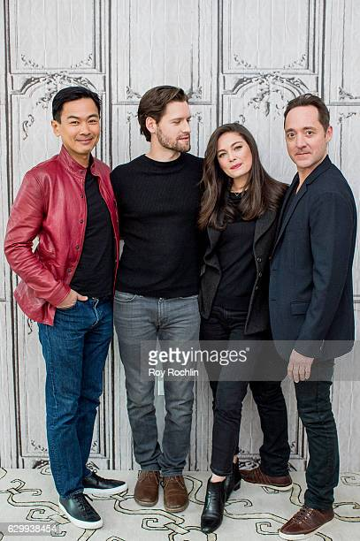Actors Joel de la Fuente Luke Kleintank Alexa Davalos and Brennan Brown discuss The Man In The High Castle with The Build Series at AOL HQ on...