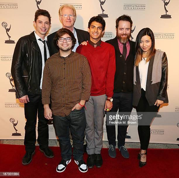 Actors Joel Dinicol Charlie Saxton Ed Begley Jr Karan Soni Jonathan C Daly and actress Maya Erkine attend The Television Academy Presents an Evening...