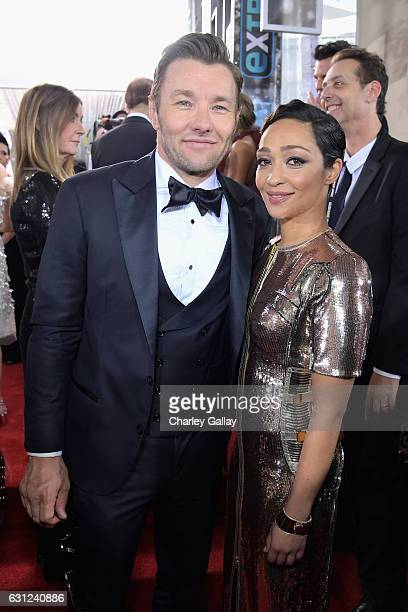 Actors Joel Edgerton and Ruth Negga at the 74th annual Golden Globe Awards sponsored by FIJI Water at The Beverly Hilton Hotel on January 8 2017 in...