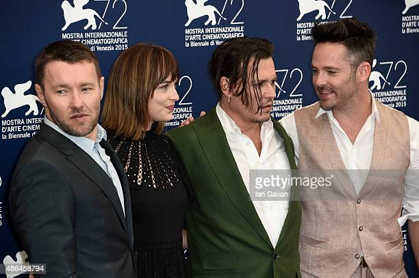 Actors Joel Edgerton Dakota Johnson Johnny Depp and director Scott Cooper attend a photocall for 'Black Mass' during the 72nd Venice Film Festival at...
