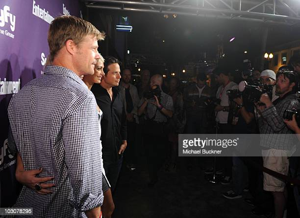 Actors Joel Gretsch Laura Vandervoort Morena Baccarin and Scott Wolf attend the EW and SyFy party during ComicCon 2010 at Hotel Solamar on July 24...