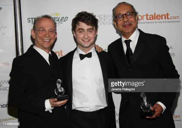 Actors Joel Grey, Daniel Radcliffe and director George C. Wolfe pose with award at the 56th annual Drama Desk awards at Hammerstein Ballroom on May...