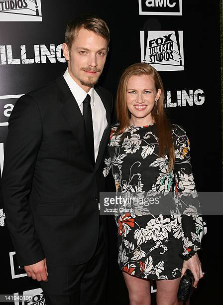 Actors Joel Kinnaman and Mireille Enos arrive at AMC's 'The Killing' Season 2 Los Angeles Premiere at ArcLight Cinemas on March 26 2012 in Hollywood...