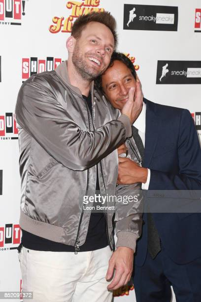 Actors Joel McHale and Danny Pudi attends the Premiere Of 'The Tiger Hunter' at Laemmle Monica Film Center on September 22 2017 in Santa Monica...