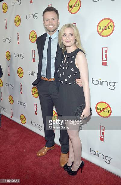 Actors Joel McHale and Gillian Jacobs arrive at the Los Angeles Premiere of 'Bully' at Mann Chinese 6 on March 26 2012 in Los Angeles California