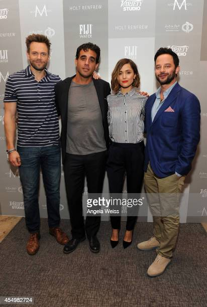 Actors Joel McHale Bobby Cannavale Rose Byrne and Nick Kroll attend the Variety Studio presented by Moroccanoil at Holt Renfrew during the 2014...