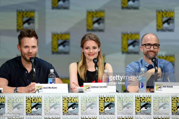Actors Joel McHale Gillian Jacobs and Jim Rash attend the 'Community' panel during ComicCon International 2014 at the San Diego Convention Center on...