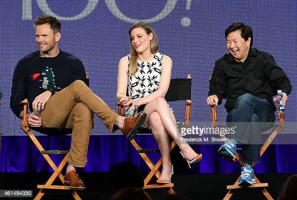 Actors Joel McHale Gillian Jacobs and Ken Jeong speak onstage during the 'Community' panel as part of the 2015 Winter Television Critics Association...