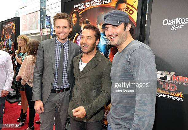 """Actors Joel McHale, Jeremy Piven and director Robert Rodriguez arrive at """"Spy Kids: All The Time In The World 4D"""" Los Angeles premiere co-sponsored..."""
