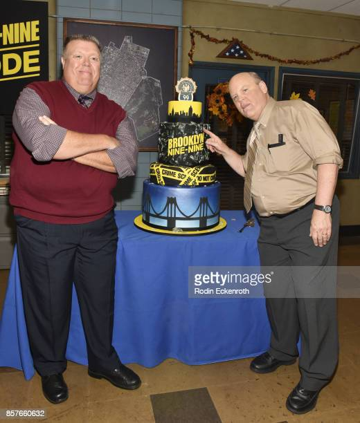 Actors Joel McKinnon Miller and Dirk Blocker pose for portrait as Fox's 'Brooklyn NineNine' celebrates their 99th episode at CBS Studio Center on...