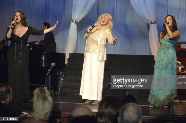 Actors Joely Fisher Connie Stevens and Trisha Leigh Fisher perform at the 51st Annual Thalians Ball at the Hyatt Regency Century Plaza Hotel on...