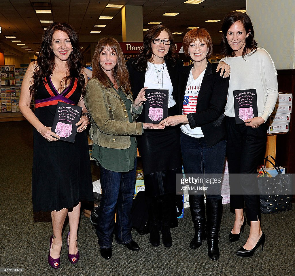 Actors Joely Fisher, Laraine Newman, author/actor Annabelle Gurwitch, actors Frances Fisher and Annabeth Gish attend the Annabelle Gurwitch book signing for 'I See You Made An Effort' at Barnes & Noble bookstore at The Grove on March 7, 2014 in Los Angeles, California.
