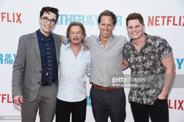 Actors Joey Bragg David Spade Nat Faxon and Matt Shively arrive at a special screening of Netflix's 'Father Of The Year' at ArcLight Hollywood on...