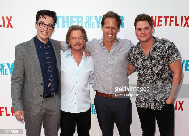 Actors Joey Bragg David Spade Nat Faxon and Matt Shively attend Netflix's Father of the Year special screening at ArcLight Hollywood on July 19 2018...
