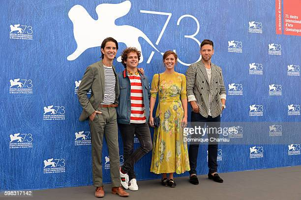 Actors Joey Haro Brando Pacitto Matilda Lutz and Taylor Frey attend a photocall for 'L'Estate Addosso Summertime' during the 73rd Venice Film...