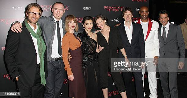 Actors Johann Urb and Kevin Durand actresses Sienna Guillory Li Bing Bing and Milla Jovovich director/writer/producer Paul W S Anderson and actors...