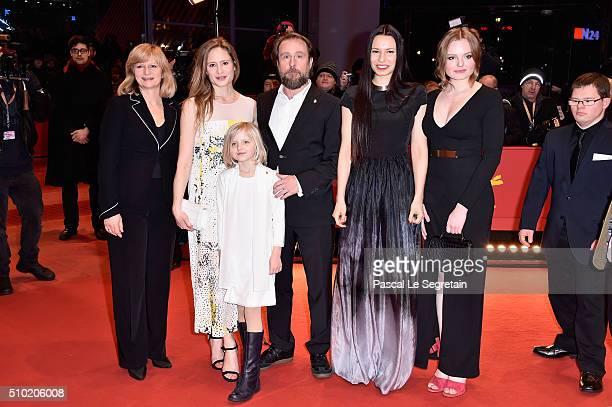 Actors Johanna Gastdorf Julia Jentsch Emilia Pieske Bjarne Maedel director Anne Zohra Berrached and actress Maria Dragus attend the '24 Wochen'...