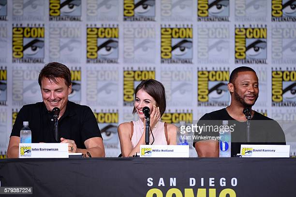 Actors John Barrowman Willa Holland and David Ramsey attend the Arrow Special Video Presentation and QA during ComicCon International 2016 at San...