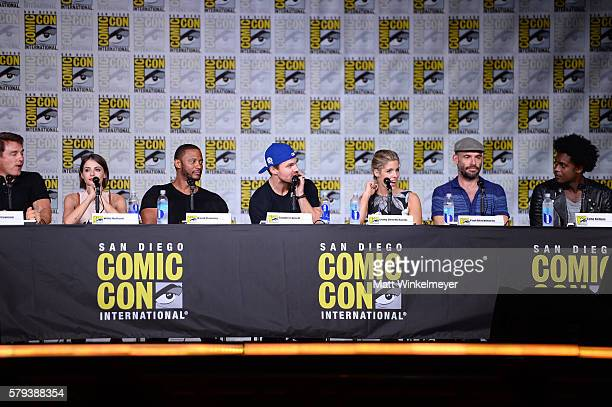 Actors John Barrowman Willa Holland David Ramsey Stephen Amell Emily Bett Rickards Paul Blackthorne and Echo Kellum attend the Arrow Special Video...