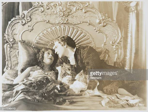 Actors John Barrymore and Dolores Costello during a scene from the 1927 silent film When a Man Loves directed by Alan Crosland