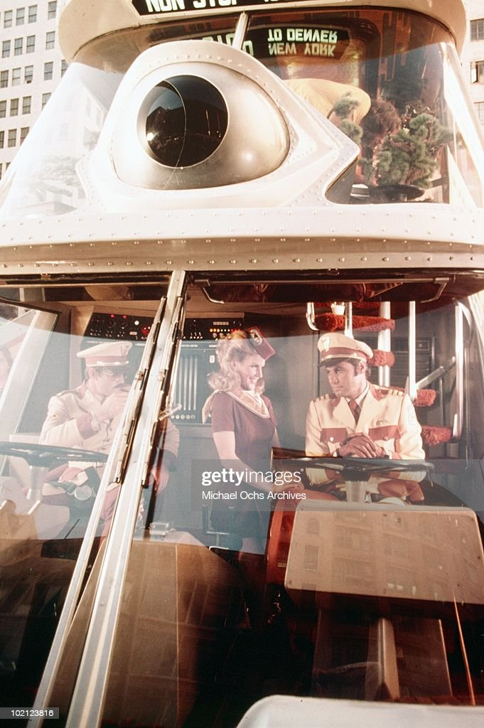 Actors John Beck and Joseph Bologna in a scene from the movie 'The Big Bus' in 1976 in Los Angeles, California.