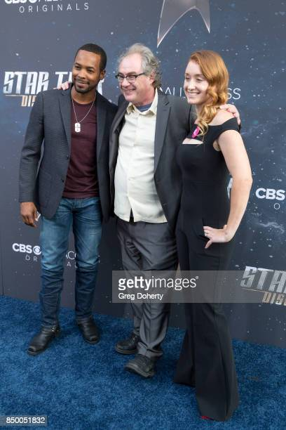 Actors John Billingsley Anthony Montgomery and guest arrive for the Premiere Of CBS's 'Star Trek Discovery' at The Cinerama Dome on September 19 2017...