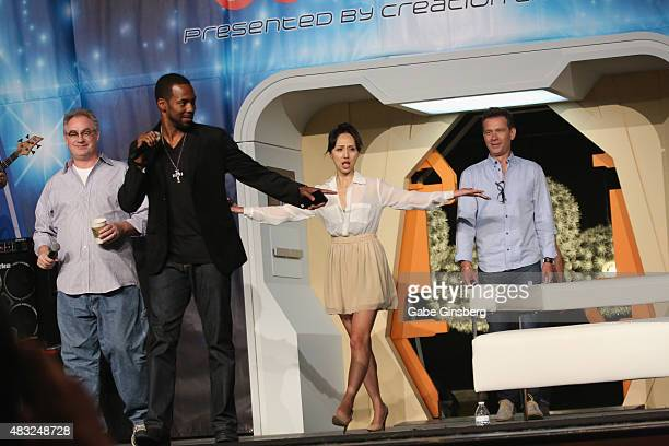 Actors John Billingsley Anthony Montgomery Linda Park and Connor Trinneer walk on stage during Star Trek Enterprise panel at the 14th annual official...