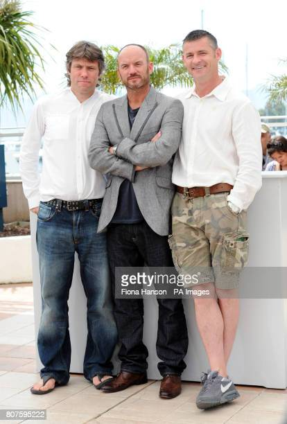 Actors John Bishop Mark Womack and Trevor Williams attend a photocall for new film Route Irish which is a late entry for the Palme d'Or during the...