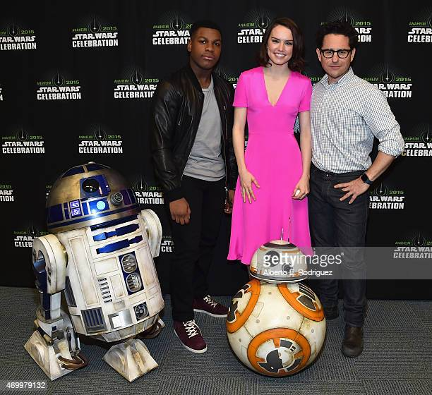 Actors John Boyega and Daisy Ridley and director JJ Abrams attend Star Wars Celebration 2015 on April 16 2015 in Anaheim California