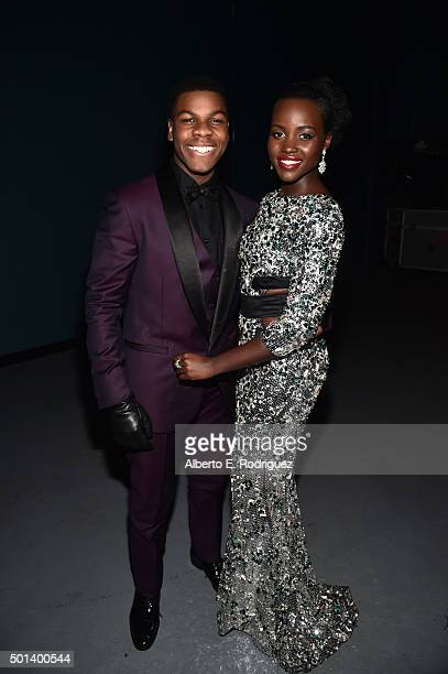 """Actors John Boyega and Lupita Nyong'o attend the World Premiere of """"Star Wars The Force Awakens"""" at the Dolby El Capitan and TCL Theatres on December..."""