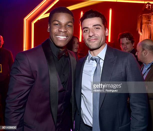 "Actors John Boyega and Oscar Isaac attend the after party for the World Premiere of ""Star Wars The Force Awakens"" on Hollywood Blvd on December 14..."