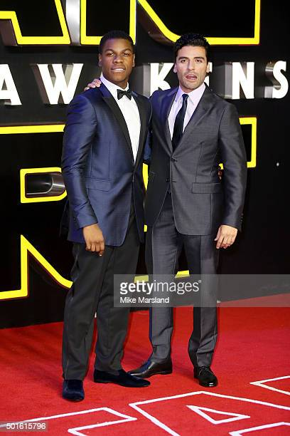 Actors John Boyega and Oscar Isaac attend the European Premiere of Star Wars The Force Awakens at Leicester Square on December 16 2015 in London...