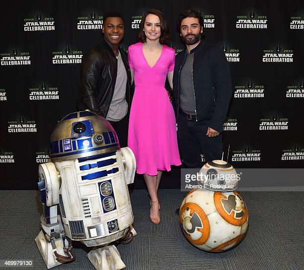 Actors John Boyega Daisy Ridley and Oscar Isaac attend Star Wars Celebration 2015 on April 16 2015 in Anaheim California