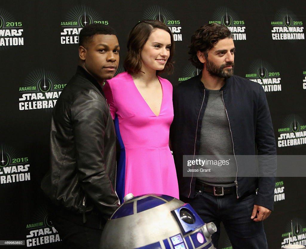 Actors John Boyega, Daisy Ridley and Oscar Isaac attend Star Wars Celebration 2015 on April 16, 2015 in Anaheim, California.