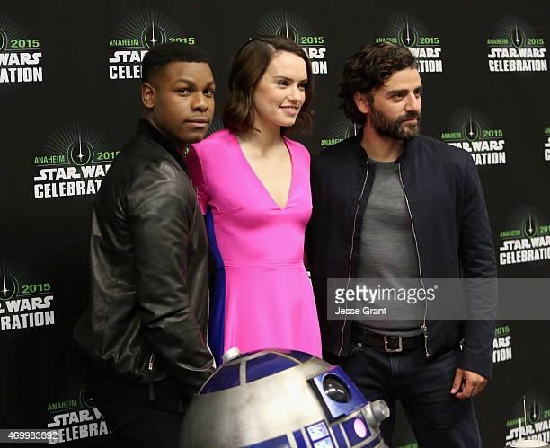 Actors John Boyega Daisy Ridley and Oscar Isaac attend Star Wars Celebration 2015 on April 16 2015 in Anaheim California