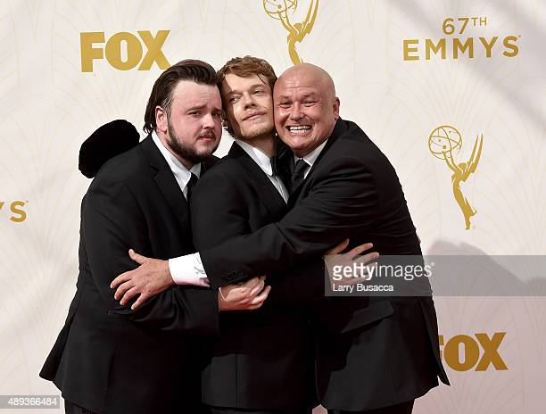 Actors John Bradley, Alfie Allen and Conleth Hill attend the 67th Annual Primetime Emmy Awards at Microsoft Theater on September 20, 2015 in Los...
