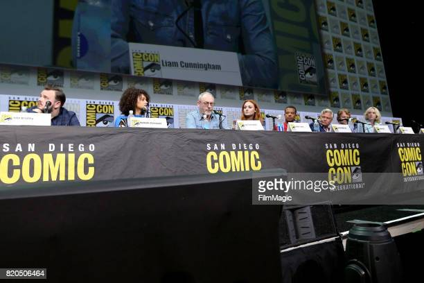 Actors John Bradley Nathalie Emmanuel Liam Cunningham Sophie Turner Jacob Anderson Conleth Hill Alfie Allen and Gwendoline Christie speak at the...