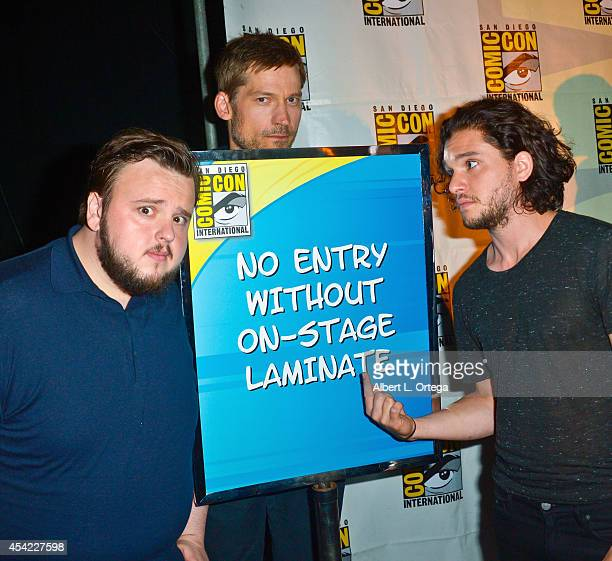 Actors John Bradley Nikolaj CosterWaldau and Kit Harington HBO's 'Game Of Thrones' Panel And QA on Friday Day 2 of ComicCon International 2014 held...