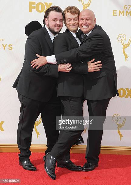 Actors John BradleyWest Alfie Allen and Conleth Hill arrive at the 67th Annual Primetime Emmy Awards at Microsoft Theater on September 20 2015 in Los...