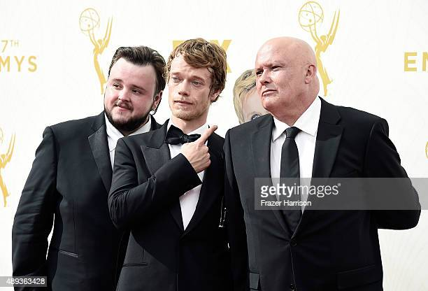 Actors John Bradley-West, Alfie Allen and Conleth Hill attend the 67th Annual Primetime Emmy Awards at Microsoft Theater on September 20, 2015 in Los...