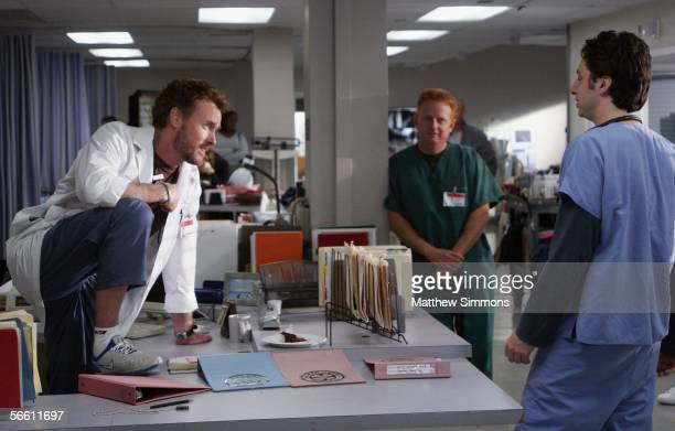 bb8dd1340fe Actors John C McGinley and Zach Braff work on the set of Scrubs at the old